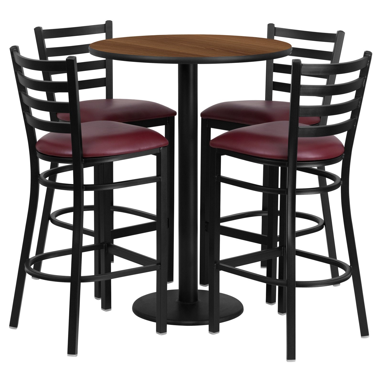 Flash Furniture 30'' Round Walnut Laminate Table Set with 4 Ladder Back Metal Barstools, Burgundy Vinyl Seat