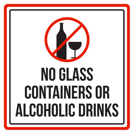 No Glass Containers Or Alcoholic Drinks Swimming Pool Spa Warning Sign - 9x9 for $<!---->