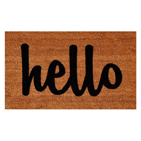 "Calloway Mills Hello Outdoor Doormat Natural/Black Script 17"" x 29"""
