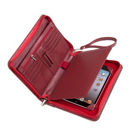 Genuine Leather Padfolio with Wrist Strap, Fits iPad Mini 5 2019 / iPad Mini 4 / iPad mini and Small Notepad (Small Ipad)