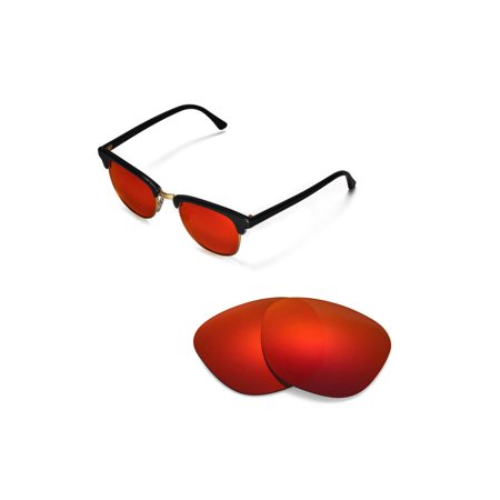 Walleva Fire Red Polarized Replacement Lenses for Ray-Ban Clubmaster RB3016 49mm (Ray Ban 49mm)