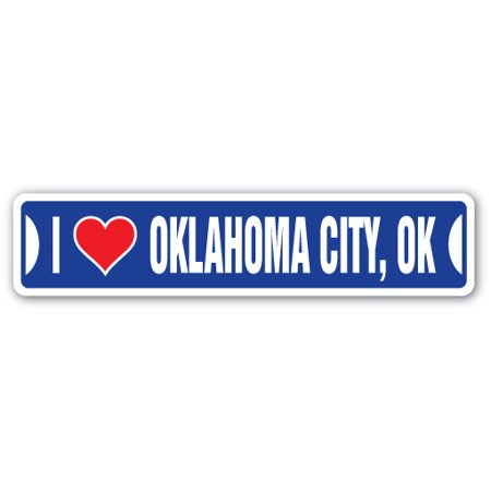 I LOVE OKLAHOMA CITY, OKLAHOMA Street Sign ok city state us wall road décor gift - Halloween Stores In Oklahoma City