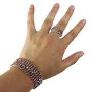 Pink Beaded Bracelet and Ring Set, Comfortable & Stylish Jewelry, One Size Fits