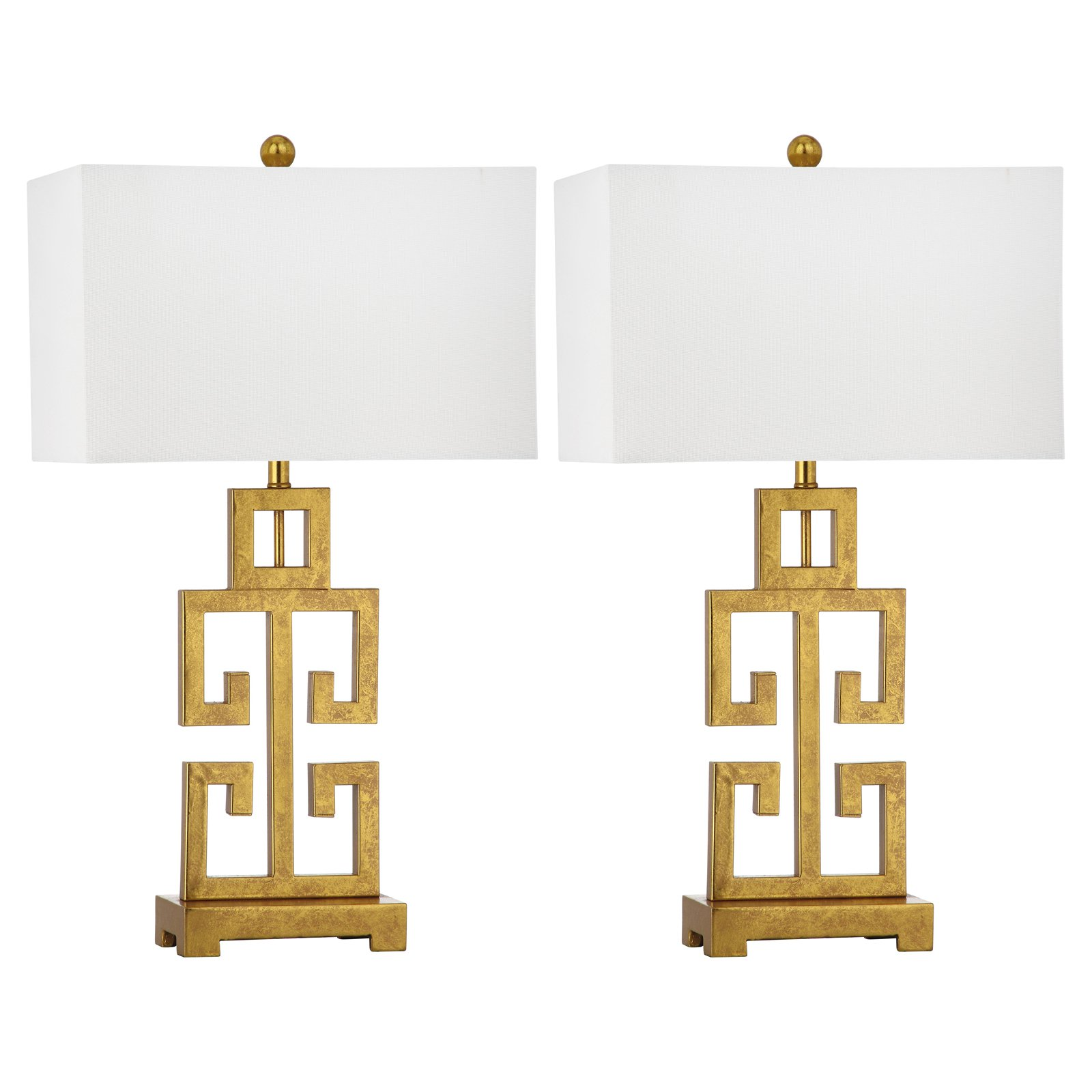 Safavieh Greek Key Table Lamp With Cfl Bulb Antique Gold With Off