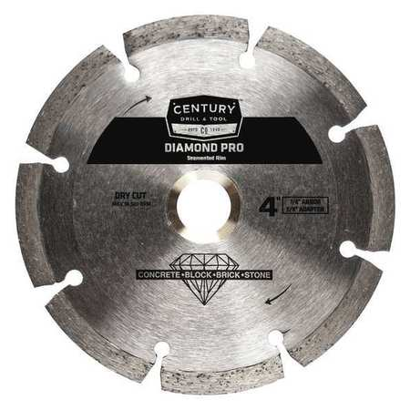 CENTURY DRILL AND TOOL 75453 Diamond Saw Blade,4 in.,Segmented Rim G4092350