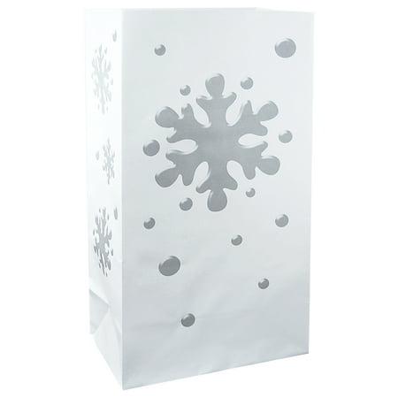 LumaBase Flame Resistant Luminaria Bags, 12 Count Snowflake