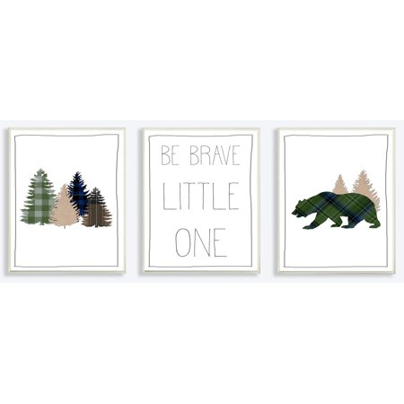 The Kids Room by Stupell Be Brave Little One Plaid Forest Bear 3pc Wall Plaque Art Set, 10 x 0.5 x 15