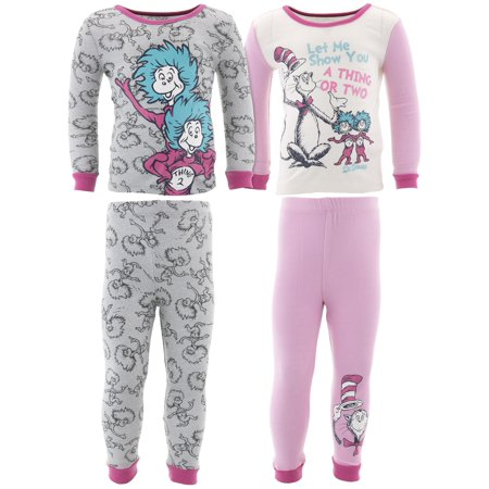 Dr. Seuss Thing 1 Thing 2 Girls Cotton 2-Pack Pajamas (Thing 1 And Thing 2 Jumpsuits)