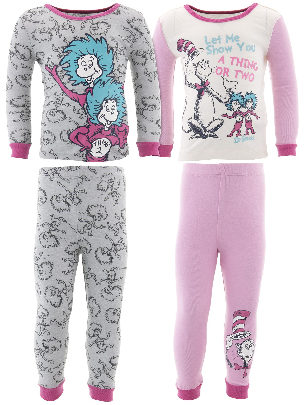 Dr. Seuss Thing 1 Thing 2 Girls Cotton 2-Pack Pajamas