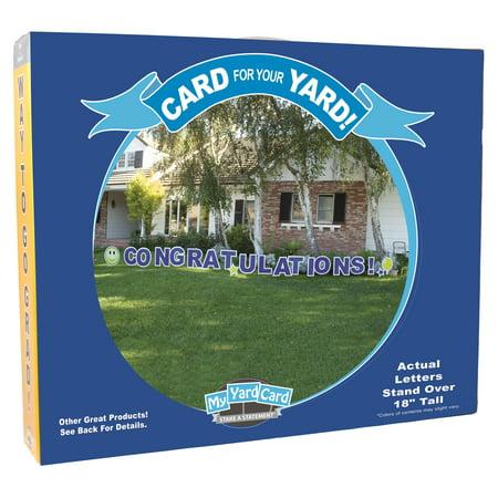 Yard Card Congratulations Graduation 20pc Sign Decoration Kit, Blue - Graduation Yard Signs