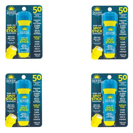 3 Pack Ocean Potion Skincare Dab on Spot Stick Sunscreen SPF 50 0.65 Fl Oz Each (Sun Skin Care)