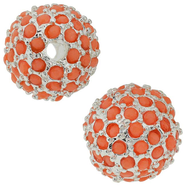 Beadelle Crystal Resort Collection 14mm Round Pave Bead - Silver Plated / Coral