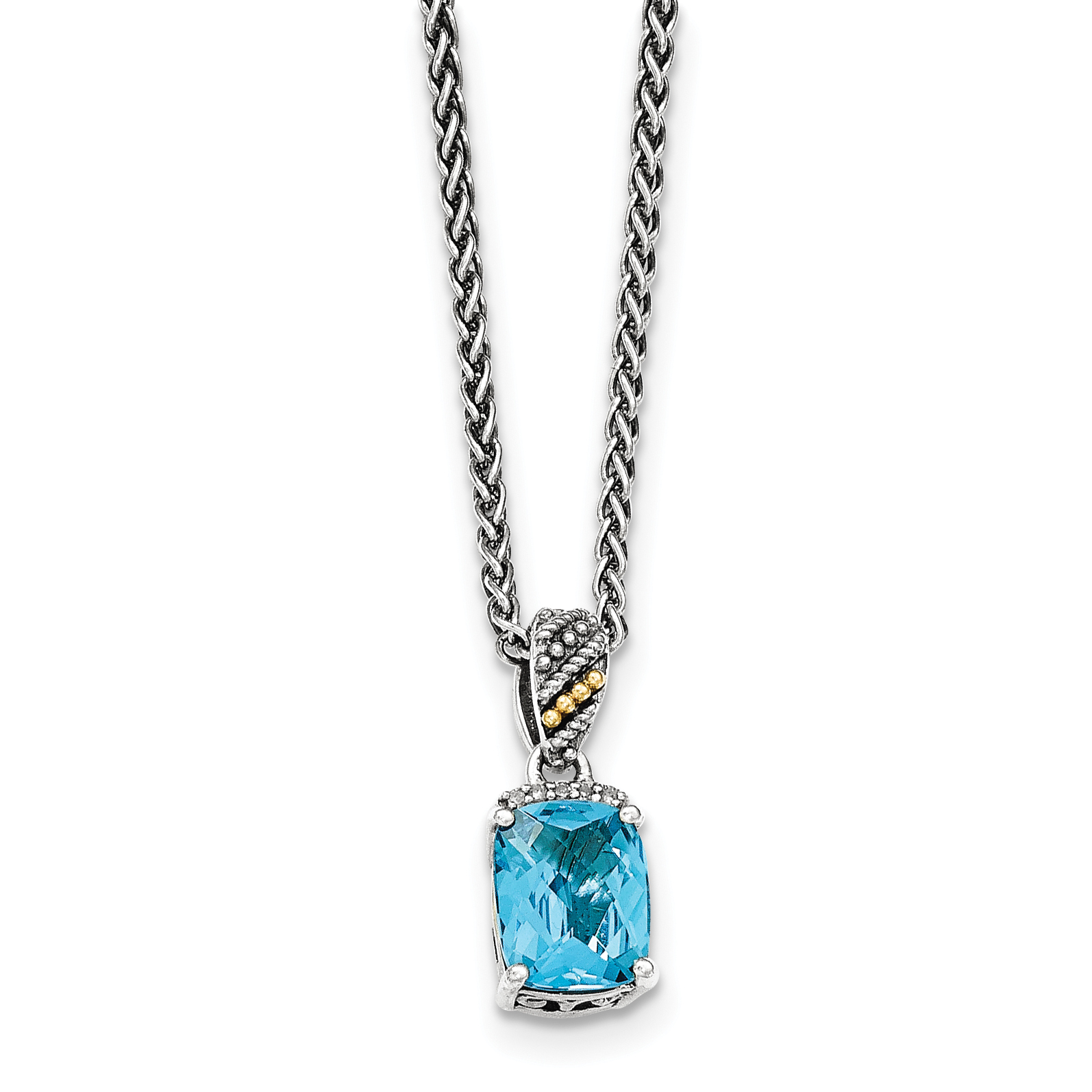 Sterling Silver w 14k Diamond and Blue Topaz Necklace by Saris and Things QG