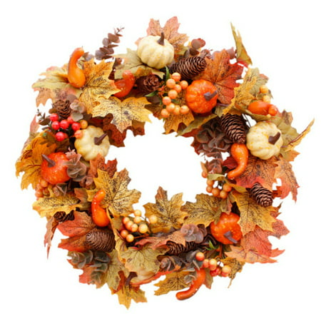 Mesh Wreaths For Halloween (ZEDWELL Artificial Wreath Garland Rattan Frame With Pumpkin, Berries, Pine Cone And Maple Leaves Halloween Thanksgiving Autumn Holiday)