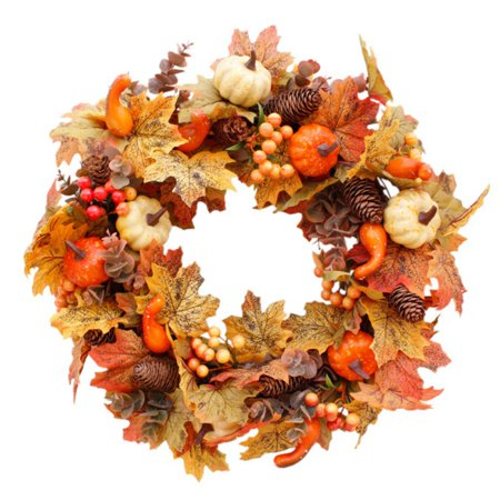 Cheap Diy Halloween Wreaths (ZEDWELL Artificial Wreath Garland Rattan Frame With Pumpkin, Berries, Pine Cone And Maple Leaves Halloween Thanksgiving Autumn Holiday)
