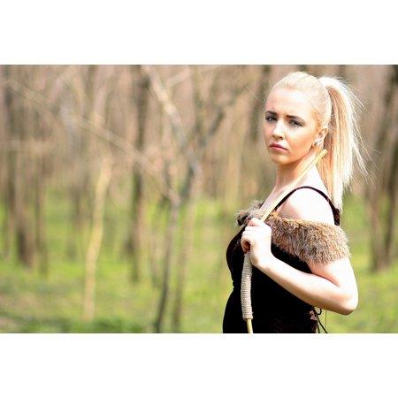 Canvas Print Girl Wild Warrior Forest Beauty Arc Blonde Stretched Canvas 10 x 14](Blonde Warrior)