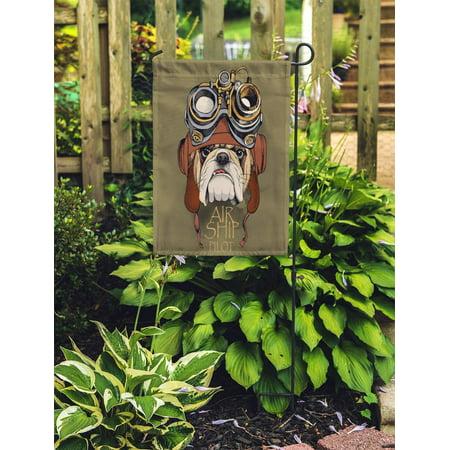 JSDART Dog Bulldog Portrait in Steampunk Helmet Punk Face Mask Funny Garden Flag Decorative Flag House Banner 28x40 inch - image 2 of 2