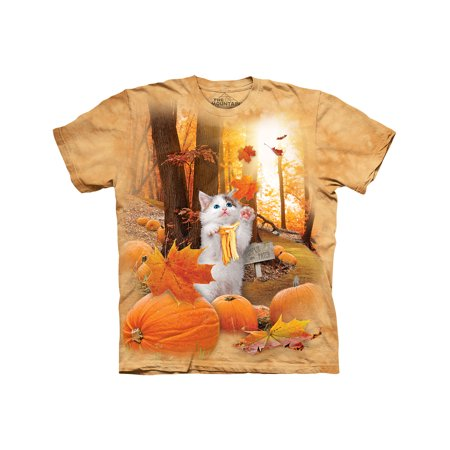 Fall Kitty Orange T-Shirt - Festive Halloween Pumpkin Patch