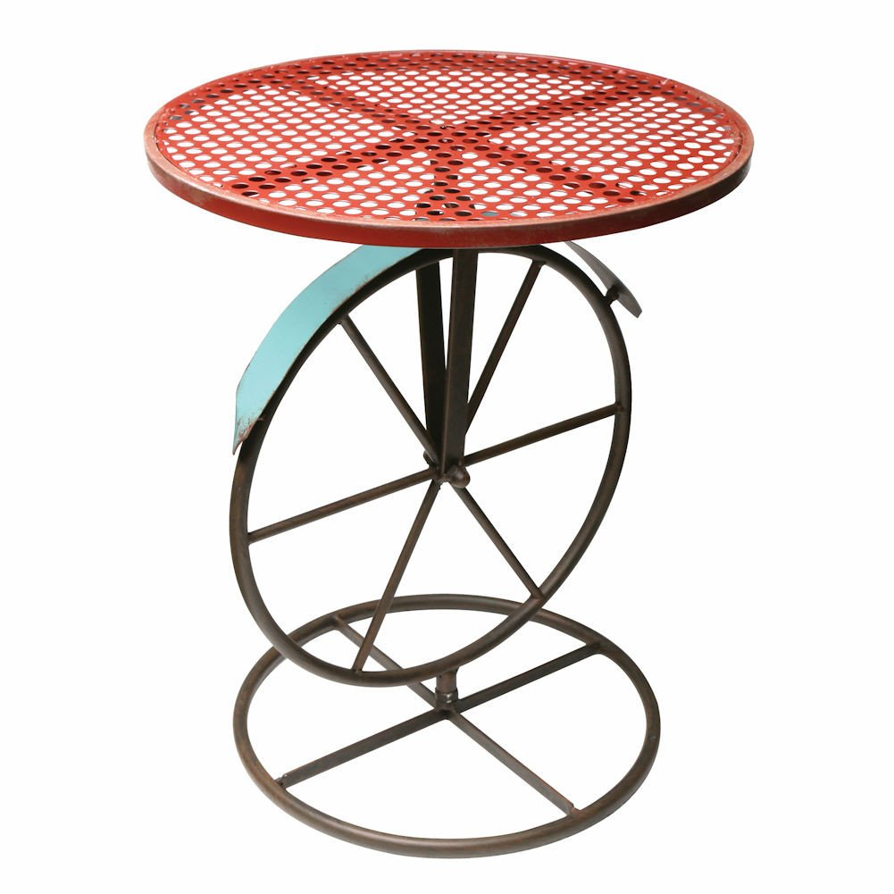 Round Metal Garden Bistro Table (Red)