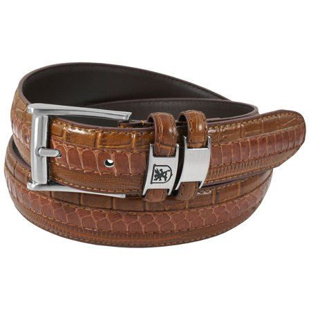 Stacy Adams Belts Stacy Adams 35mm Cognac Tri-Leather Big and Tall Embossed, Croc, Lizard, Snake Belt