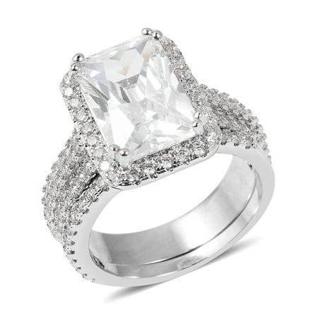 Simulated White Diamond Silvertone Ring (Size 8) TGW 8.89 -