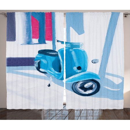 Country Decor Curtains 2 Panels Set, Mini Scooter In A Soft Mediterranean Mid Day Light Italian Town Life Symbol Art Paint, Living Room Bedroom Accessories, By