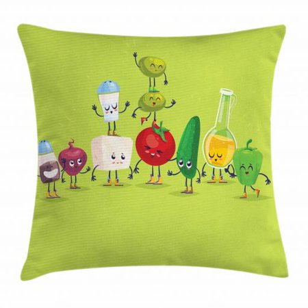 Vegetable Throw Pillow Cushion Cover, Cartoon Greek Salad Ingredients in Cute Characters Fun Olive Oil Lemon Cheese, Decorative Square Accent Pillow Case, 16 X 16 Inches, Multicolor, by (The Active Ingredient In Cloves Causes Damage By)
