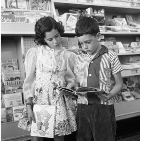 Two kids in kiosk Stretched Canvas -  (24 x (Kiosk Soho)
