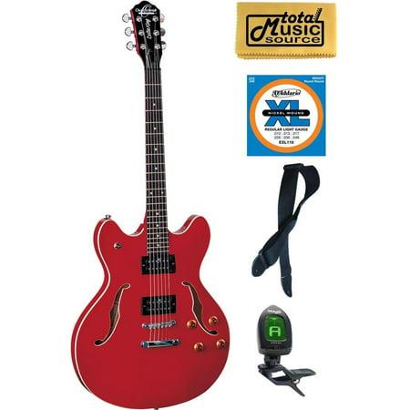 Oscar Schmidt Delta King Semi Hollow Cherry Guitar Bundle OE30CH