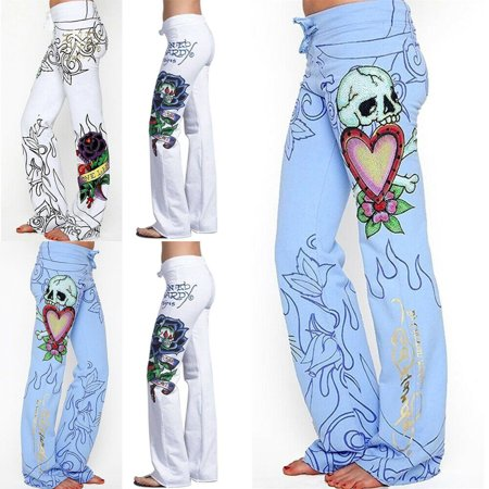 Fashion Women Baggy Skull Rose Printed Pants Hippie Wide Leg Boho Trousers New Arrival