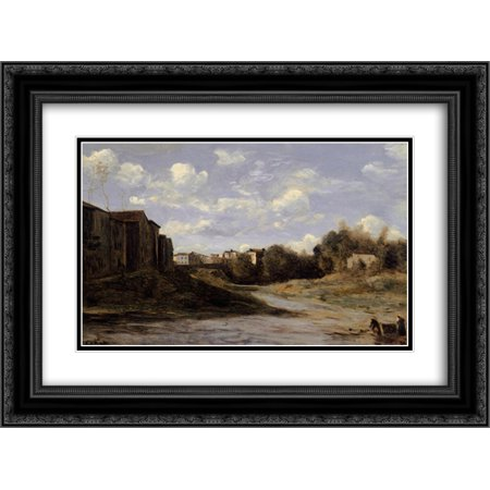 Camille Corot 2X Matted 24X20 Black Ornate Framed Art Print The Banks Of The Midouze  Mont De Marsan  As Seen From The Pont Du Commerce