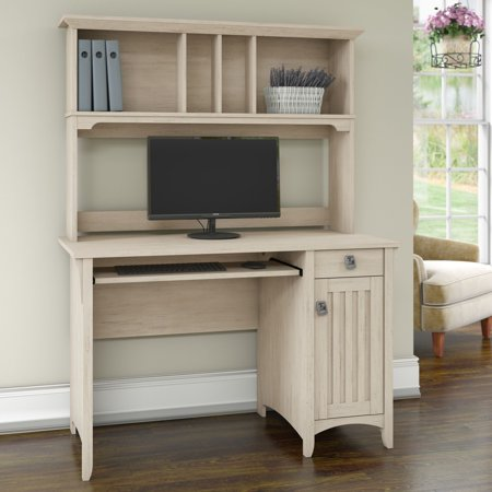 Bush Furniture Salinas Mission Style Desk with Hutch in Antique White ()