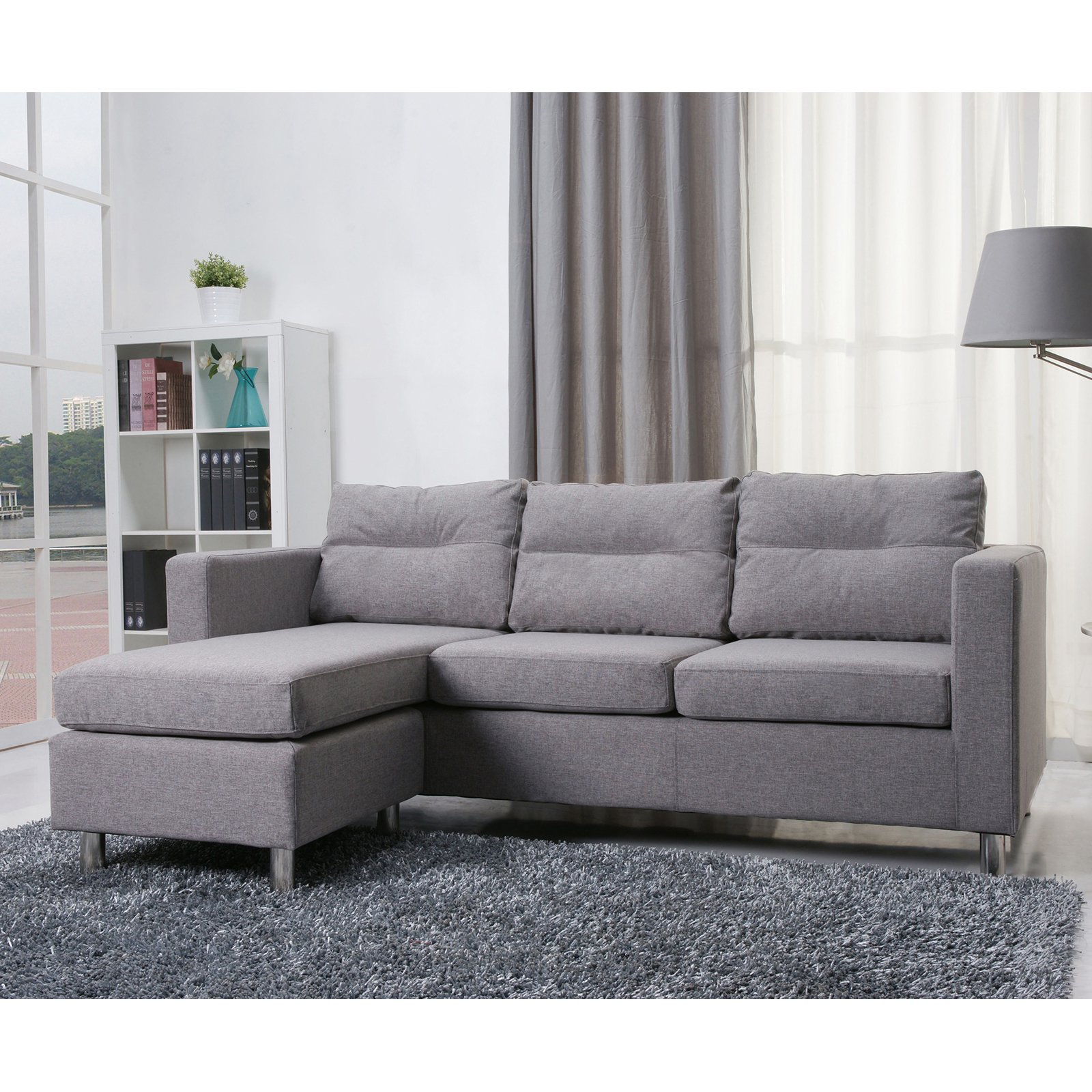 Gold Sparrow Detroit Fabric Convertible Sectional Sofa And Ottoman Set