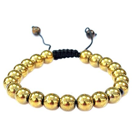 PURPLE WHALE Magnetic Round Goldtone Color Hematite Macrame Style Adjustable Bracelet Good for Healing and Energy -Or Arthritis Pain Relief-91042 - Macrame Bracelet Instructions