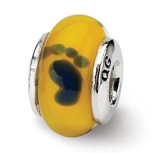 Goldia Sterling Silver Reflections Yellow Dichroic Glass Bead
