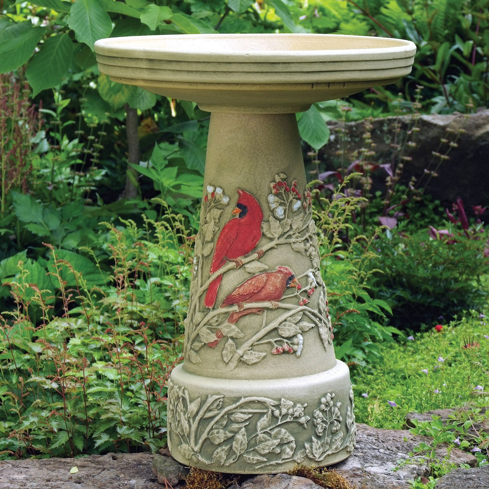Burley Clay Hand Painted Summer Cardinal Ceramic Birdbath by Backyard Nature Products Inc