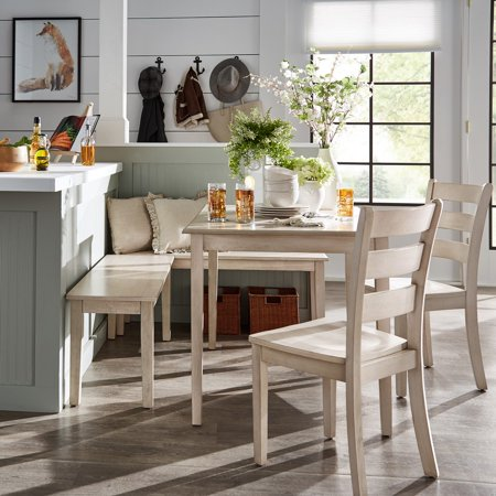 Weston Home Lexington 5-Piece Breakfast Nook Dining Set, Rectangular Table, Antique White Breakfast Nook Dining Table
