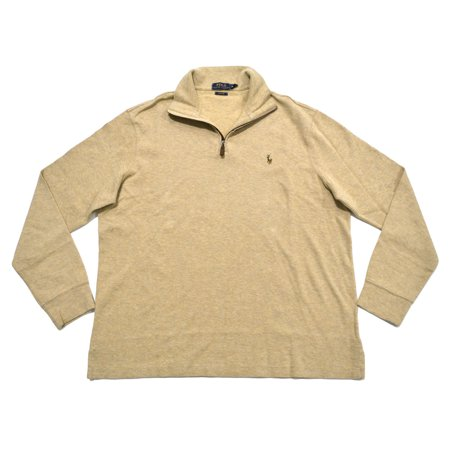 Polo Ralph Lauren NEW Beige Mens Small S Estate Rib Quarter Zip (Yves Saint Laurent Silk Sweater)