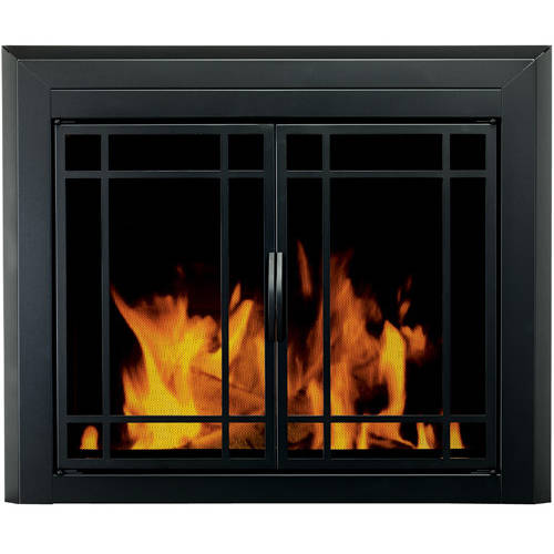 Pleasant Hearth Emery Cabinet Prairie Style Fireplace Glass Door, Midnight Black, EM-5010