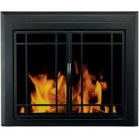 Fireplace doors screens shop fireplace screens at walmart pleasant hearth emery cabinet prairie style fireplace glass door midnight black em 5010 eventshaper