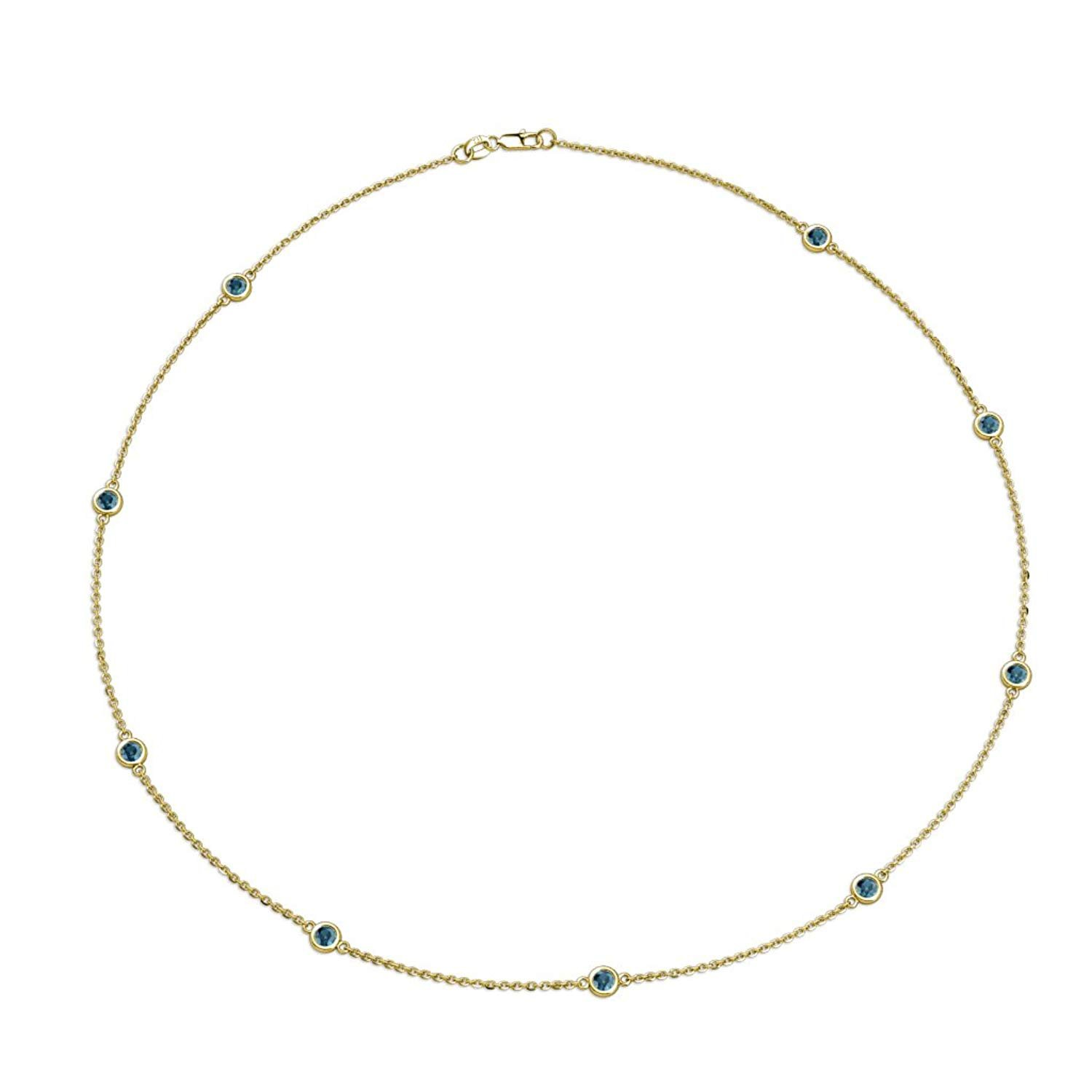 Blue Diamond 9 Stations Necklace 0.63 cttw in 14K Yellow Gold by TriJewels