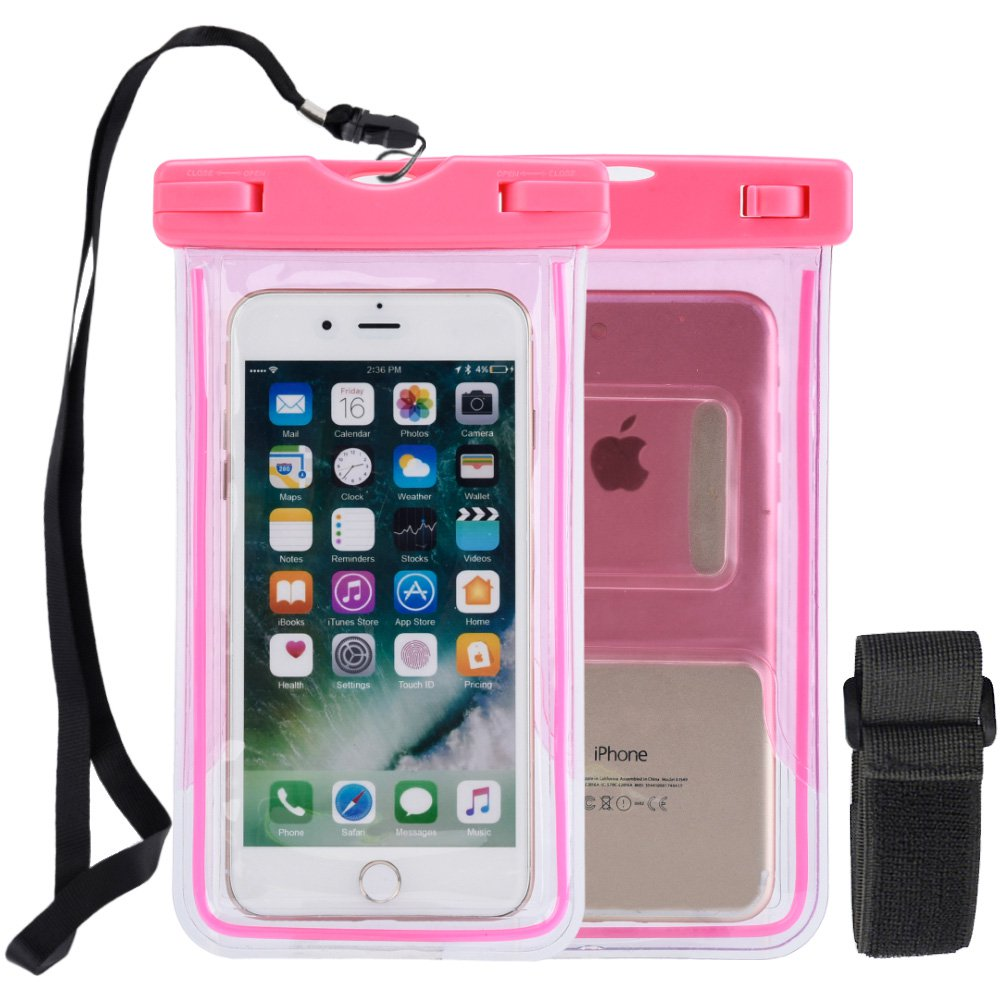 Universal Multifunctional Waterproof Phone Bag Armband Transparent Pouch for Smartphones upto (6 inch) - Neon Pink