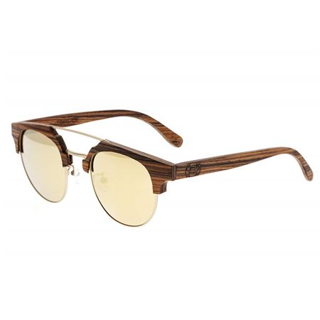 Earth Wood ESG024GD Kai Unisex Sunglasses with Polarized Lenses, Brown Stripe & - Earthy Stripes