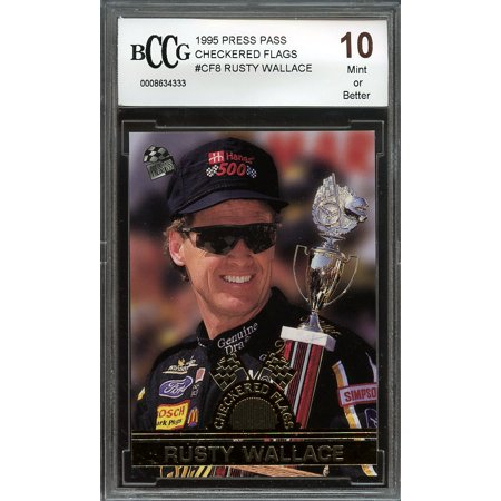 1995 press pass checkered flags #cf8 RUSTY WALLACE BGS BCCG 10