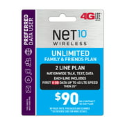 Net10 $90 Unlimited Family & Friends Plan for 2 Lines (8GB of data per line at high speeds, then 2G*) (Email Delivery)
