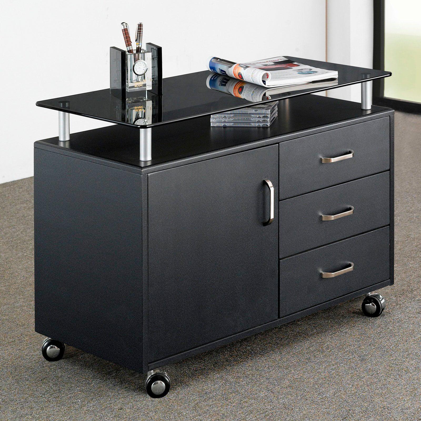 Techni Mobili Glass Top File Cabinet with Storage