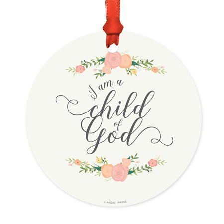 Religious Round Metal Christmas Ornament, I Am A Child of God, Girl Floral Roses, Includes Ribbon and Gift Bag