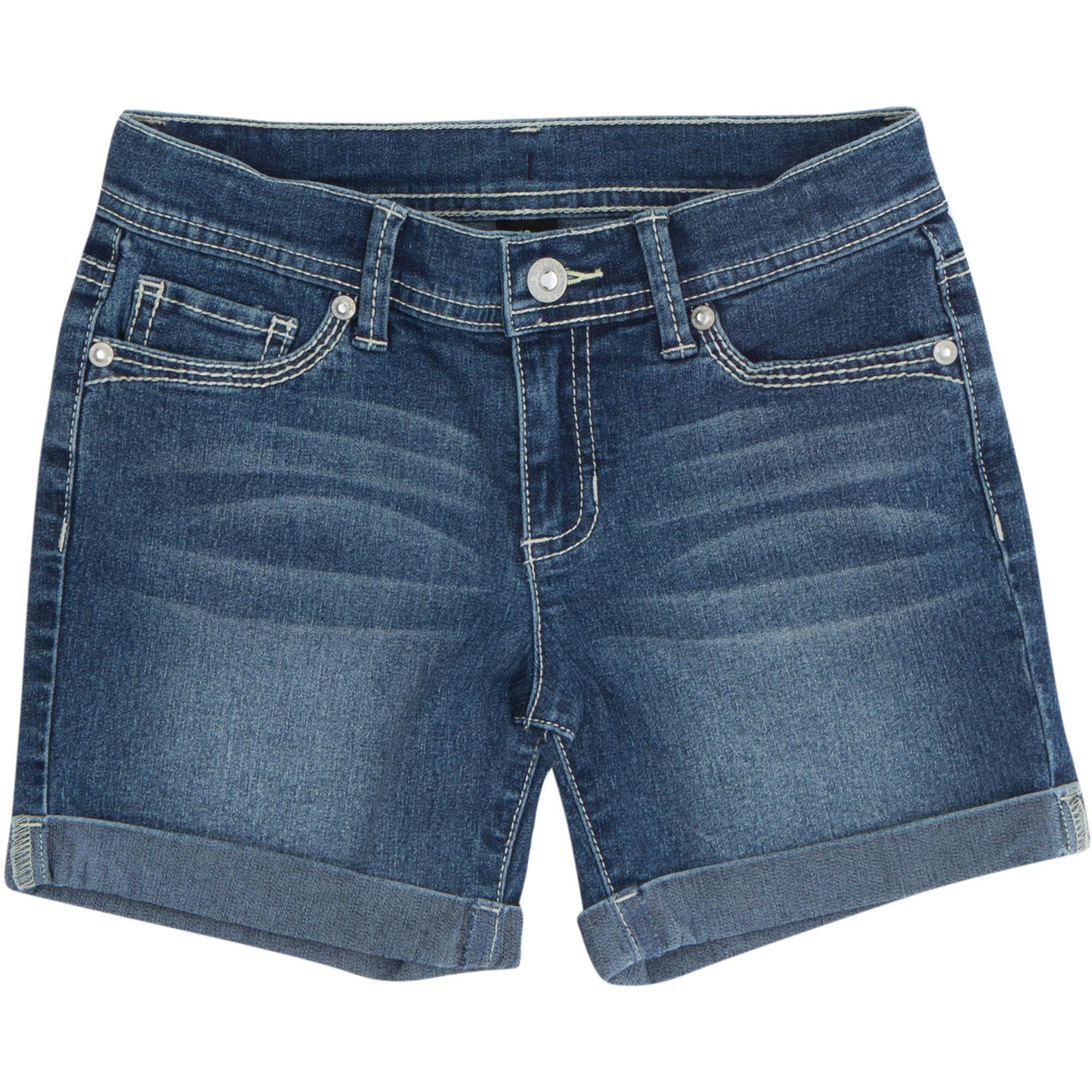 Jordache Girls' Roll Cuff Midi Denim Shorts