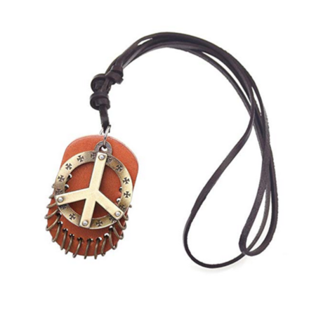 Hand Made Copper Color Peace Sign Pendant Leather Necklace and Base Jewelry, J-464-PS