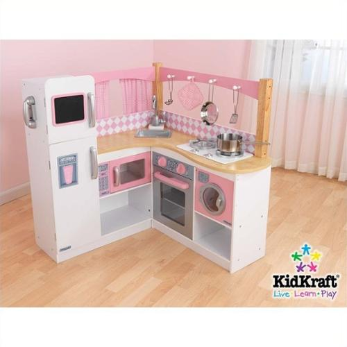 KidKraft Grand Gourmet Corner Wooden Kitchen Play Set with 4 Piece Accessories